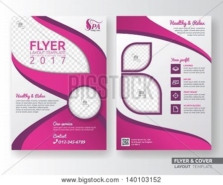 Multipurpose corporate business flyer layout design. Suitable for flyer brochure book cover. Pink and white color in A4 size template background with bleeds. spa and beauty salon concept