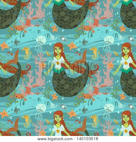 The vector pattern with cute young mermaid and ocean stuff for games presentations, ui tablets, smart phones.
