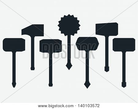 Hammers. Set of ancient weapons. Vector illustration.
