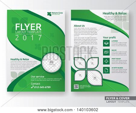 Multipurpose corporate business flyer layout design. Suitable for flyer brochure book cover and annual report. green and white color in A4 size template background with bleed. Eco and nature concept