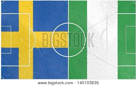 Flags of countries participating to the football tournament. Football field textured by Sweden and Nigeria national flags. 3D rendering