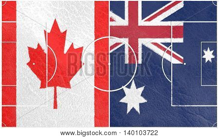 Flags of countries participating to the football tournament. Football field textured by Canada and Australia national flags. 3D rendering