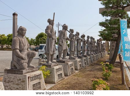 AKO JAPAN - JULY 18 2016: Statues of famous 47 ronin in the Oishi Shrine. Shrine is dedicated to 47 loyal samurai (described in Chusingura tale) and is located on the grounds of Ako Castle Japan