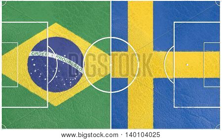 Flags of countries participating to the football tournament. Football field textured by Sweden and Brazil national flags. 3D rendering