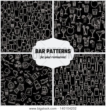Vector Illustration of Drinks Seamless Pattern Outline for Design, Website, Background, Banner. Bar Element for Menu or Infographic Template. Glasses, Bottle, Cocktail, Coffee, tea