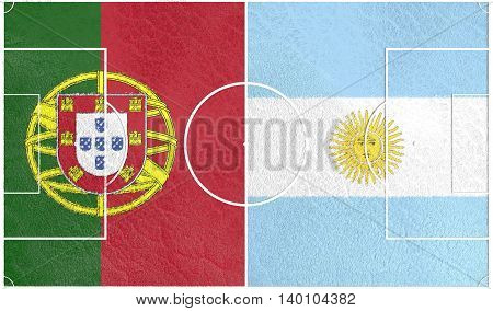 Flags of countries participating to the football tournament. Football field textured by Portugal and Argentina national flags. 3D rendering