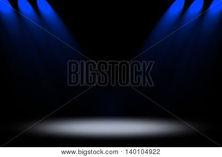 empty stage with blue spotlight background