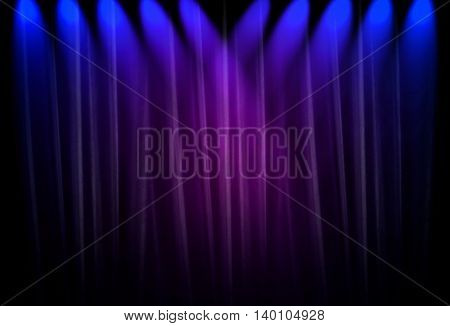 blue spotlight with curtain background