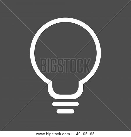 Simple white lightbulb icon. Isolated vector illustration.