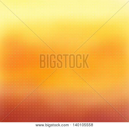 Yellow-orange and brown color blurred abstract vector background. Smooth gradient backdrop with transparent white dots texture overlay