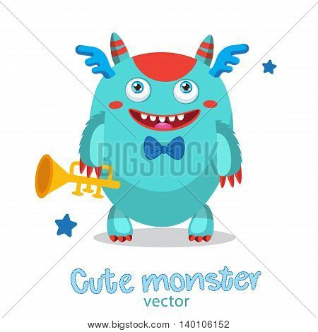 Musician Pipe Monster. Cute Monster Vector Illustration. Cartoon Monster Mascot. Monsters University. Gold Loud Pipe.
