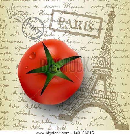 table top with sketching paper on hand-drawn writing background with eiffel tower and tomato