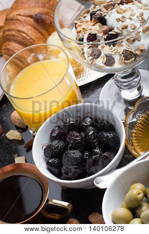 Breakfast Assorted Yogurt, Granola, Coffee, Juice, Croissant, Olives. Appetizer Mix With Morning Dis