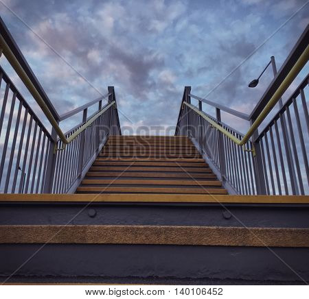 stairs, industrial, city, architecture, sky, industrial, nobody