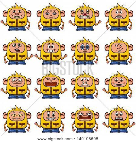Set of Funny Colorful Cartoon Characters, Cute Monsters in Overalls with Different Faces and Emotions, Elements for your Design, Prints and Banners, Isolated on White Background. Vector