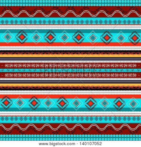 Ethnic Boho Seamless Pattern. Colorful Border Background Texture.