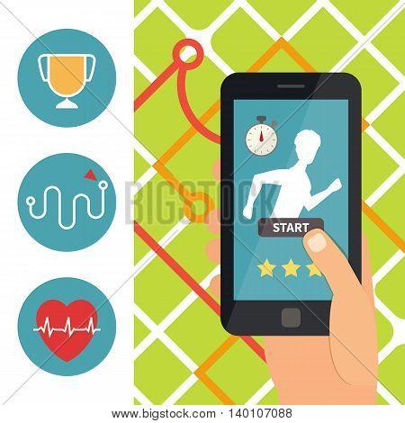 Sport fitness mobile application. Running app on smartphone. Flat design vector