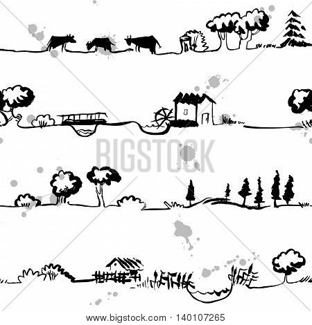 Artistic seamless pattern with rural line landscape
