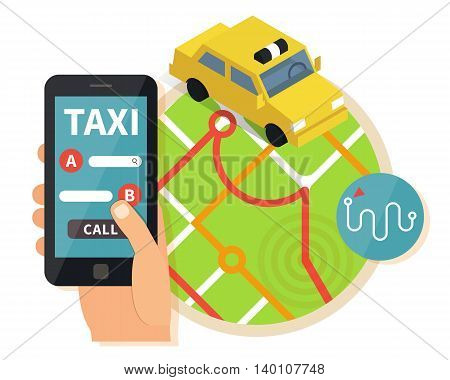 Public taxi online service, mobile application. Navigation map with yellow taxi and hand holding smatrphone. Flat vector app illustration.