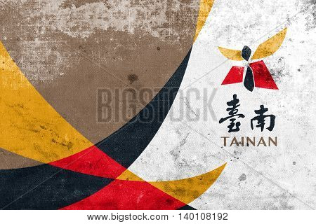 Flag Of Tainan, Taiwan, With A Vintage And Old Look