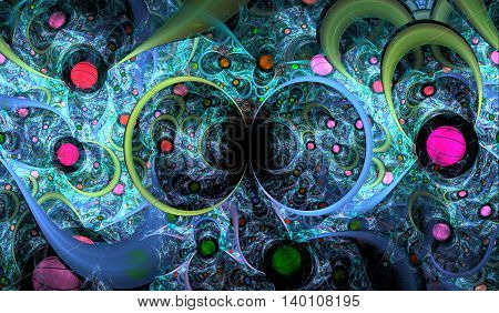 Abstract fractal background. Fractal balls with fantastic arcs a