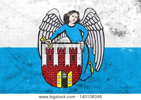 Flag Of Torun, Poland, With A Vintage And Old Look