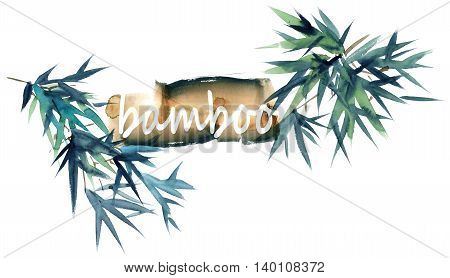 Watercolor and ink illustration of bamboo leaves and text. Oriental traditional painting.