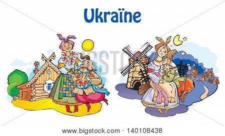 Ukrainian household vector illustrations - couples day and night.