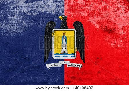 Flag Of Valparaiso, Chile, With A Vintage And Old Look