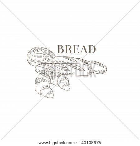 Baguette, Croissant and Swirl Hand Drawn Realistic Detailed Sketch In Classy Simple Pencil Style On White Background