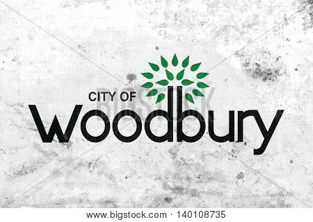 Flag Of Woodbury, Minnesota, Usa, With A Vintage And Old Look