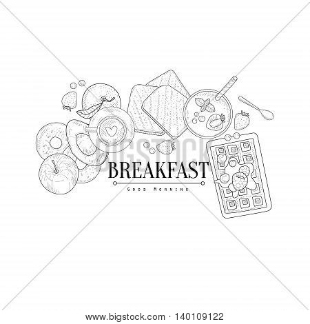 Breakfast With Waffle And Avocado Hand Drawn Realistic Detailed Sketch In Classy Simple Pencil Style On White Background