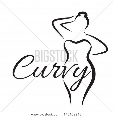 Logo plus size woman. Curvy woman symbol logo. Vector illustration