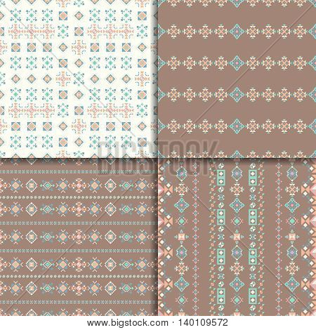 Geometric ethnic seamless pattern set. Vector Abstract Aztec backgrounds.