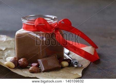 sweet dessert - homemade natural chocolate pudding
