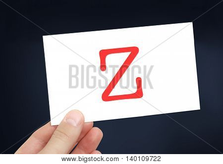 The letter Z on a card