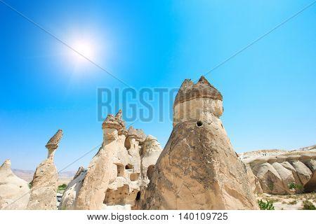 mountain landscape. Cappadocia, Anatolia, Turkey.