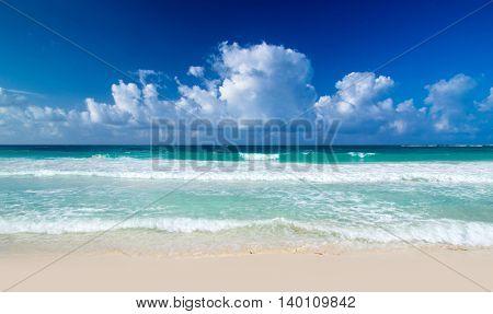 beautiful blue caribbean sea beach