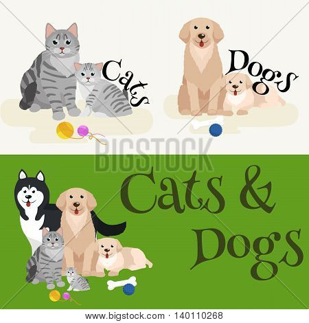 Cat and dog together lying vector illustration pictograms