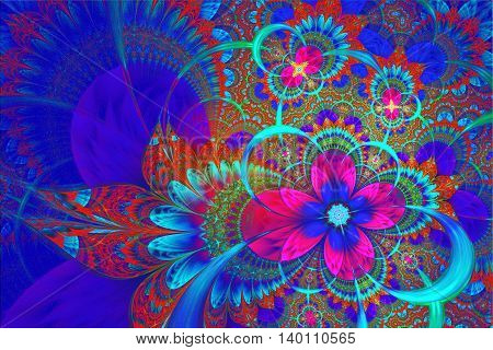 Abstract fractal floral lace background.