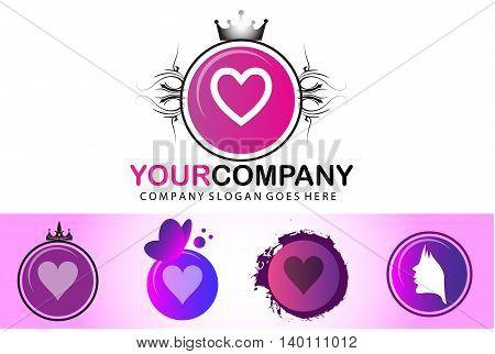 Vintage heart logo design isolated on white background