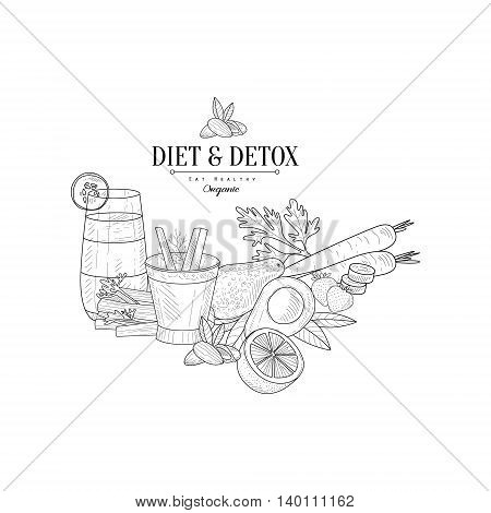 Set Of Detox Vegetarian Food Hand Drawn Realistic Detailed Sketch In Classy Simple Pencil Style On White Background