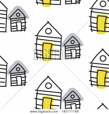 Line hut houses scandinavian ornament. Vector hand drawn seamless pattern simple linear style with yellow and grey spots.