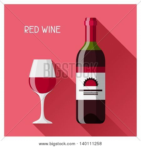 Bottle and glass of red wine in flat design style.