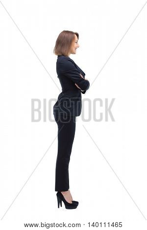 Full-length profile of businesswoman, isolated on white.