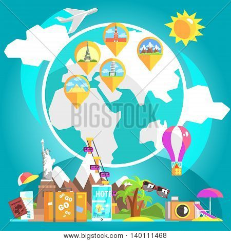 Travelling Attributes With Glove And Marked Destinations On The Background Cool Colorful Vector Illustration In Stylized Geometric Cartoon Design
