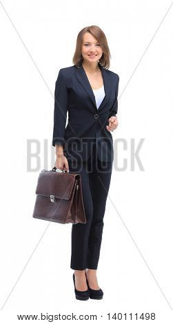 Portrait of businesswoman handing suitcase, isolated on white