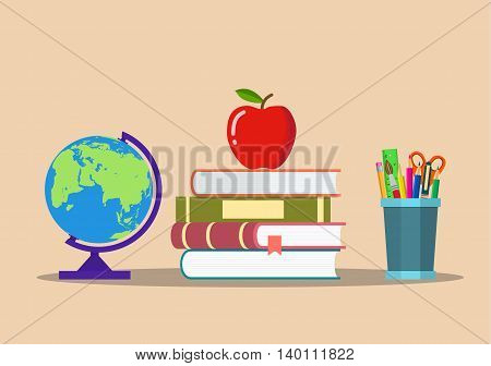 Education concept. color pencils in cup, globe, pile of books and apple. Vector illustration in flat style