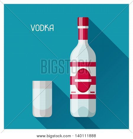 Bottle and glass of vodka in flat design style.