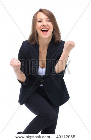 Portrait of successful winner celebrating